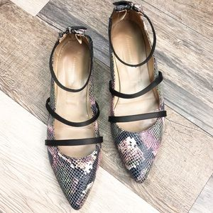 Anthropologie Snakeskin Strappy Ankle Flats
